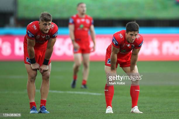 Zac Lomax and Ben Hunt of the Dragons look dejected during the round three NRL match between the New Zealand Warriors and the St George Illawarra...