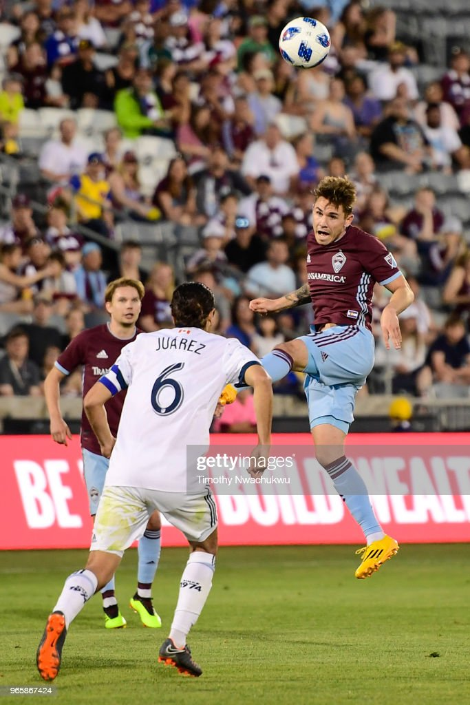 Zac MacMath #18 of Colorado Rapids heads the ball against the Vancouver Whitecaps at Dick's Sporting Goods Park on June 1, 2018 in Commerce City, Colorado.