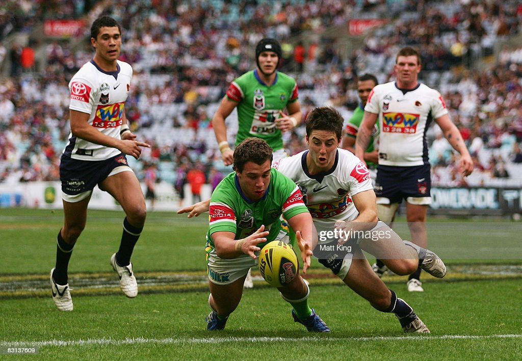 Zac Merritt of the Raiders scores a try during the Under 20's Toyota Cup Final match between the Canberra Raiders and the Brisbane Broncos at ANZ Stadium on October 5, 2008 in Sydney, Australia.