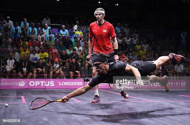 Zac Millar of New Zealand competes in the Mixed Doubles Group G match between England and New Zealand during Squash on day six of the Gold Coast 2018...