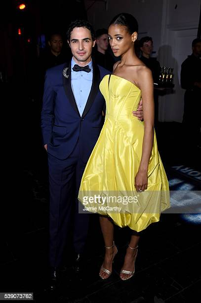 Zac Posen and Aya Jones attend the 7th Annual amfAR Inspiration Gala at Skylight at Moynihan Station on June 9 2016 in New York City