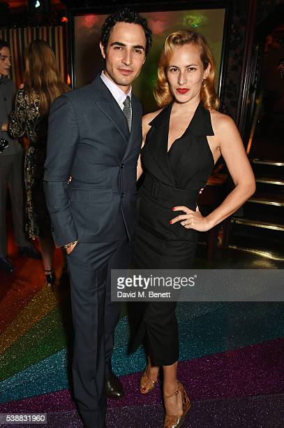Zac Posen and Charlotte Dellal attend Zac Posen's dinner to celebrate his first women's collection for Brooks Brothers at Loulou's on June 8 2016 in...
