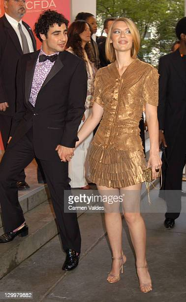 Zac Posen and Claire Danes during The 2003 CFDA Fashion Awards Arrivals at The New York Public Library in New York City New York United States