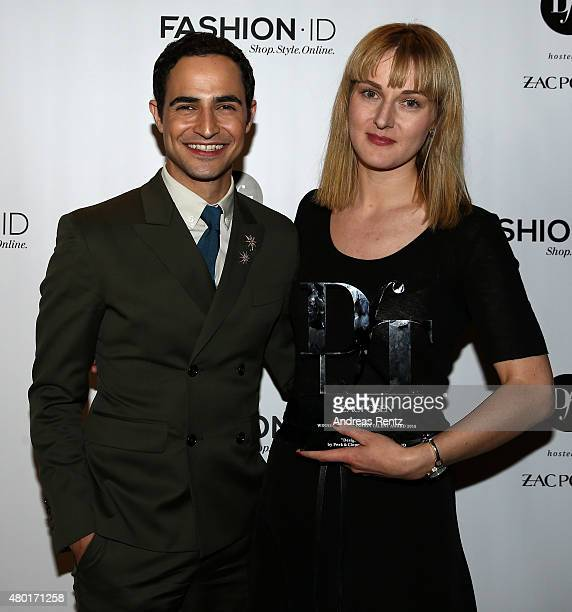 Zac Posen and DfT 2015 winner Mareike Massing pose after the 'Designer for Tomorrow' by Peek Cloppenburg and Fashion ID show during the MercedesBenz...