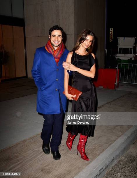 Zac Posen and Emily Ratajkowski leave a private dinner at 15 Hudson Yards on March 13 2019 in New York City