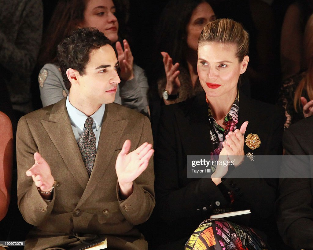 Zac Posen and Heidi Klum attend the Project Runway Fall 2013 Mercedes-Benz Fashion Show at The Theater at Lincoln Center on February 8, 2013 in New York City.