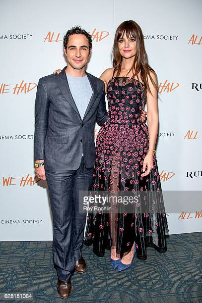 Zac Posen and Katie Holmes attend The Cinema Society Ruffino Host A screening of 'All We Had' at Landmark Sunshine Cinema on December 6 2016 in New...