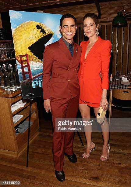 Zac Posen and Michelle Monaghan attend a Dinner Honoring The Women Of 'Pixels' at Upland on July 20 2015 in New York City