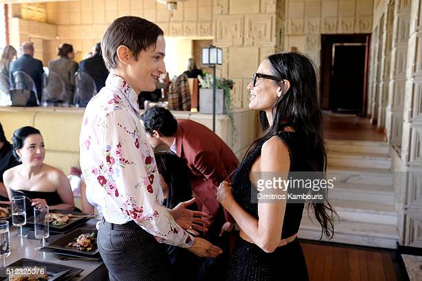 Zac Posen creative director Christopher Niquet and actress Demi Moore attend the MAC Cosmetics Zac Posen luncheon at the Ennis House hosted by Karen...