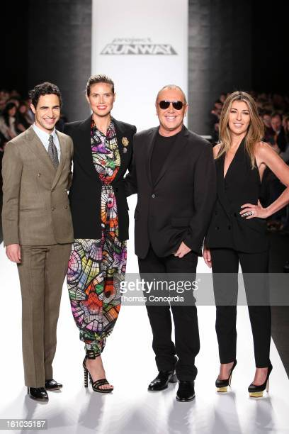Zac Posen Heidi Klum Michael Kors Nina Garcia walk the runway before the 11th Season Finale of Project Runway Fashion Show at The Theatre at Lincoln...