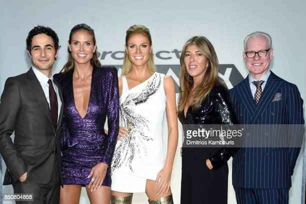 Zac Posen Heidi Klum Nina Garcia and Tim Gunn pose with Heidis wax figure on the set of Project Runway at Gum Studios on September 8 2017 in the Long...