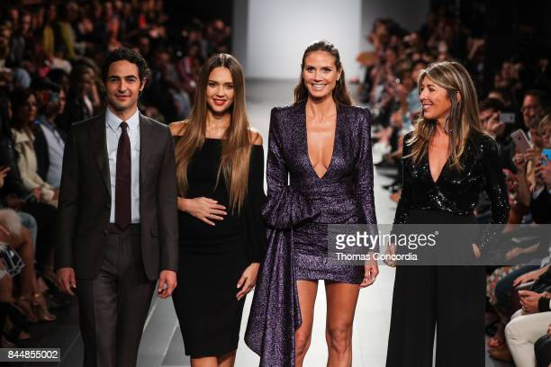 Zac Posen Jesica Alba Heidi Klum and Nina Garcia greet the audience during the Project Runway Fashion Show at Gallery 1 Skylight Clarkson Sq on...