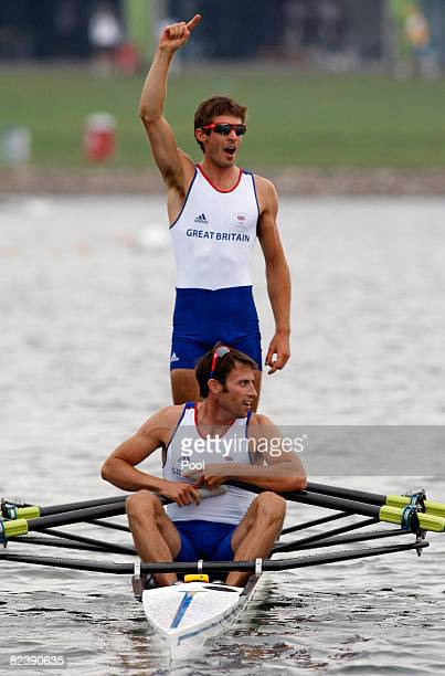 Zac Purchase and Mark Hunter of Great Britain celebrate their gold medal in Lightweight Men's Double Sculls Final at the Shunyi Olympic...