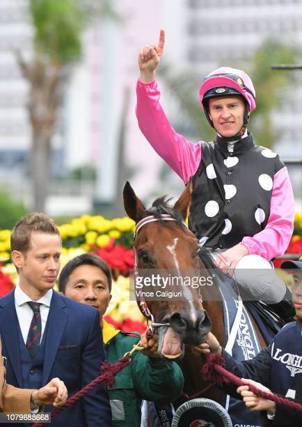 Zac Purton and Gary Moore after win of Beauty Generation in Race 7 Longines Hong Kong Mile during the LONGINES Hong Kong International Races at Sha...