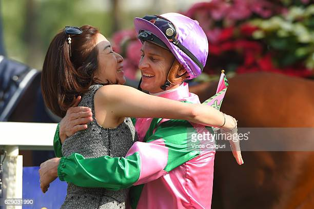Zac Purton is congratulated by winning connections after riding Aerovelocity to win Race 5 the Longines Hong Kong Sprint during Hong Kong...
