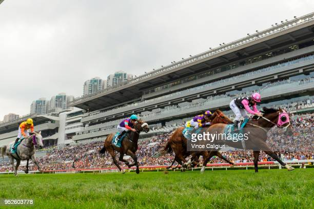 Zac Purton riding Beauty Generation wins Race 6 Champions Mile on Champions Day at Sha Tin racecourse on April 29 2018 in Hong Kong Hong Kong