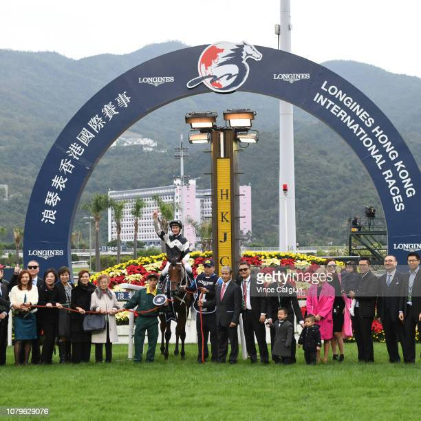 Zac Purton riding Exultant after winning Race 4 Longines Hong Kong Vase during the LONGINES Hong Kong International Races at Sha Tin Racecourse on...