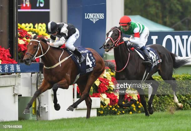 Zac Purton riding Exultant defeats Joao Moreira riding Lys Gracieux in Race 4 Longines Hong Kong Vase during the LONGINES Hong Kong International...