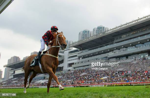 Zac Purton riding Time Warp finishes last in Race 8 Audemars Piguet QE11 Cup on Champions Day at Sha Tin racecourse on April 29 2018 in Hong Kong...