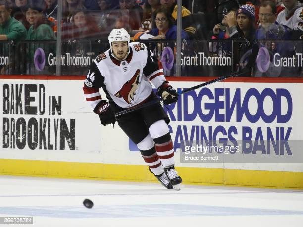 Zac Rinaldo of the Arizona Coyotes skates against the New York Islanders at the Barclays Center on October 24 2017 in the Brooklyn borough of New...