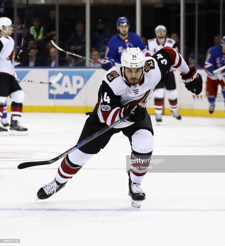 Zac Rinaldo #34 of the Arizona Coyotes skates against the New York Rangers at Madison Square Garden on October 26, 2017 in New York City. The Rangers defeated the Coyotes 5-2.