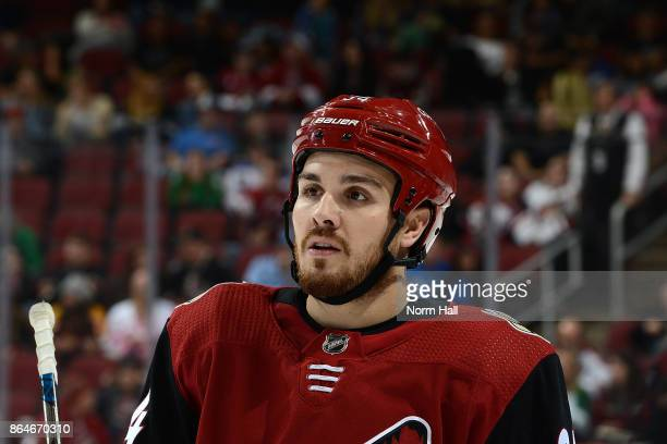 Zac Rinaldo of the Arizona Coyotes skates back to his bench during a stop in play against the Dallas Stars at Gila River Arena on October 19 2017 in...