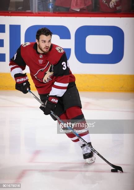 Zac Rinaldo of the Arizona Coyotes warms up before the NHL game against the Washington Capitals at Gila River Arena on December 22 2017 in Glendale...
