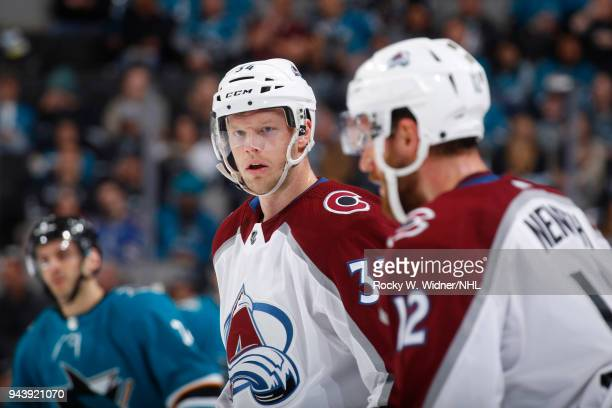 Zac Rinaldo of the Colorado Avalanche looks on during the game against the San Jose Sharks at SAP Center on April 5 2018 in San Jose California Carl...