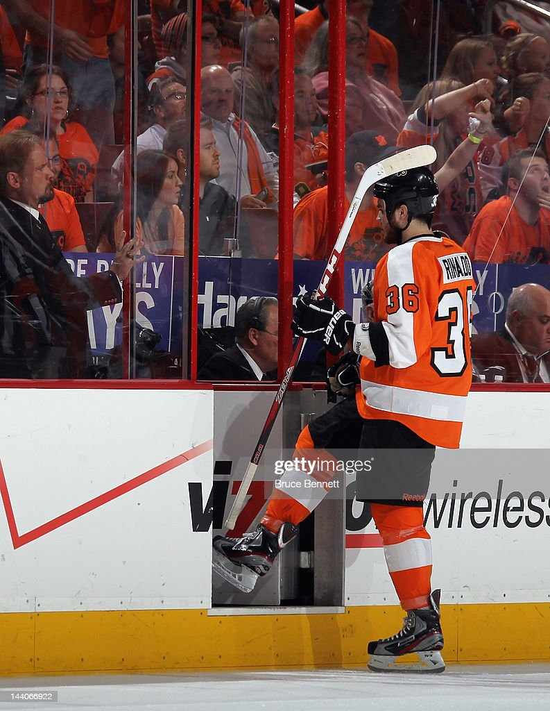 Zac Rinaldo #36 of the Philadelphia Flyers heads to the penalty box in the game against the New Jersey Devils in Game Five of the Eastern Conference Semifinals during the 2012 NHL Stanley Cup Playoffs at Wells Fargo Center on May 8, 2012 in Philadelphia, Pennsylvania.