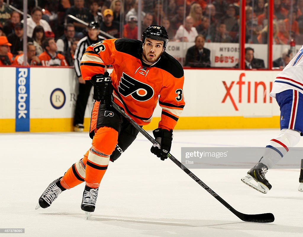 Zac Rinaldo #36 of the Philadelphia Flyers skates against the Montreal Canadiens in the first period on October 11, 2014 at the Wells Fargo Center in Philadelphia, Pennsylvania.