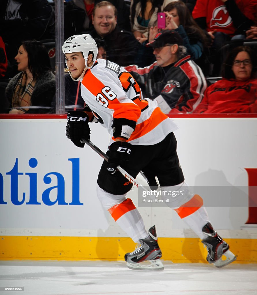 Zac Rinaldo #36 of the Philadelphia Flyers skates against the New Jersey Devils at the Prudential Center on March 13, 2013 in Newark, New Jersey. The Devils defeated the Flyers 5-2.