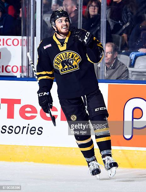 Zac Rinaldo of the Providence Bruins celebrates his goal against the Toronto Marlies during game action on October 26 2016 at Ricoh Coliseum in...