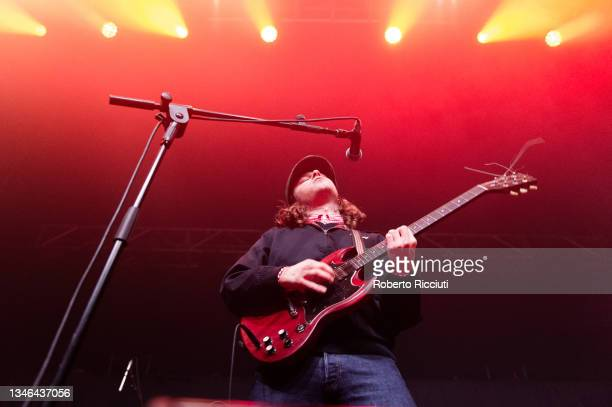Zac Skinner of The Skinner Brothers performs on stage at O2 Academy Glasgow on October 13, 2021 in Glasgow, Scotland.