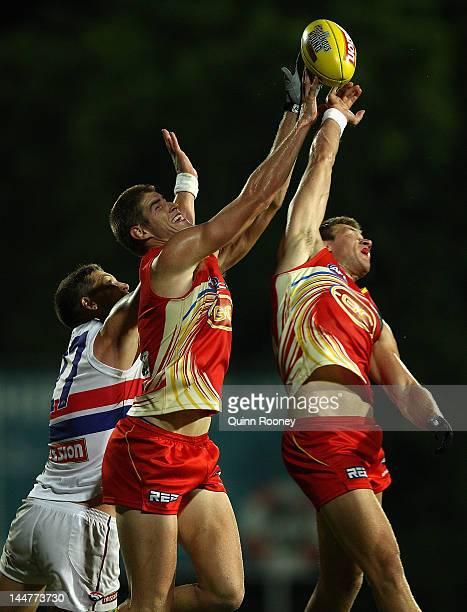 Zac Smith of the Suns marks during the round eight AFL match between the Western Bulldogs and the Gold Coast Suns at TIO Stadium on May 19, 2012 in...