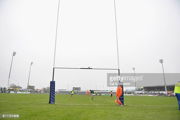 Zac Southen of South Canterbury kicks a conversion during the round six Mitre 10 Championship match between South Canterbury and Horowhenua Kapiti at...