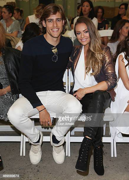 Zac Stenmark and Emily Skye attend the Bec Bridge show at MercedesBenz Fashion Week Australia 2015 at Carriageworks on April 13 2015 in Sydney...
