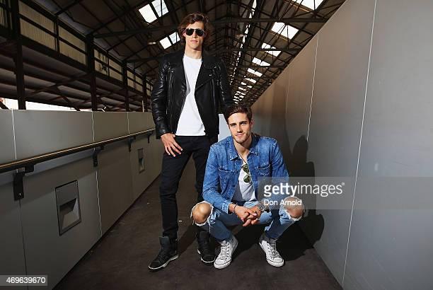 Zac Stenmark wears Belstaff jacket, Basic T-shirt , Calvin Klein jeans, Tom Ford sunglasses and Lavin shoes and Jordan Stenmark wears Jacket, T-shirt...