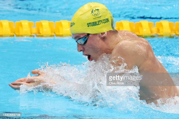 Zac Stubblety-Cook of Team Australia competes in the Men's 200m Breaststroke heats on day four of the Tokyo 2020 Olympic Games at Tokyo Aquatics...