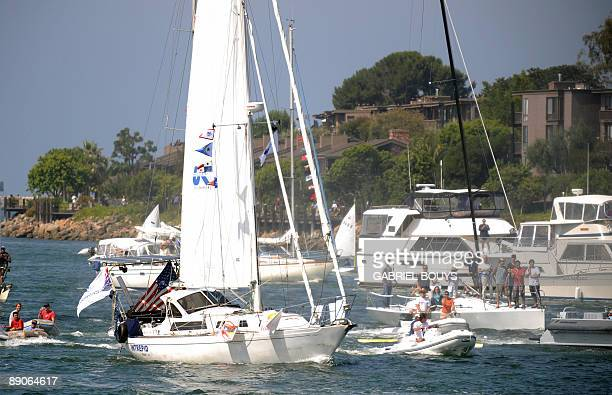 Zac Sunderland of the US arrives at Marina Del Rey California on July 2009 The 17 year old teenager became the youngest person to circumnavigate the...