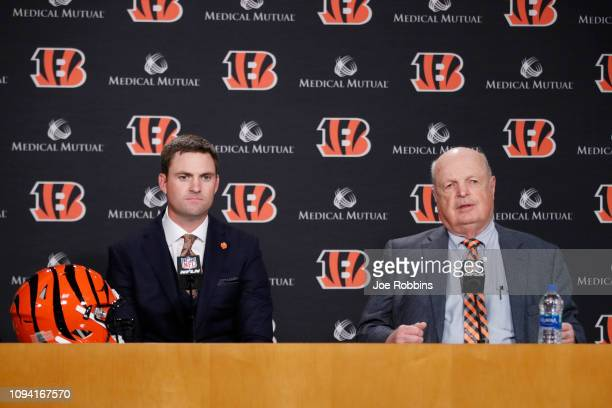 Zac Taylor looks on along with Cincinnati Bengals owner Mike Brown after being introduced as the new head coach for the Bengals at Paul Brown Stadium...