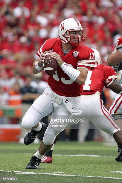 Zac Taylor of the Nebraska Cornhuskers drops back to pass during the game with the Pittsburgh Panthers on September 17 2005 at Memorial Stadium in...