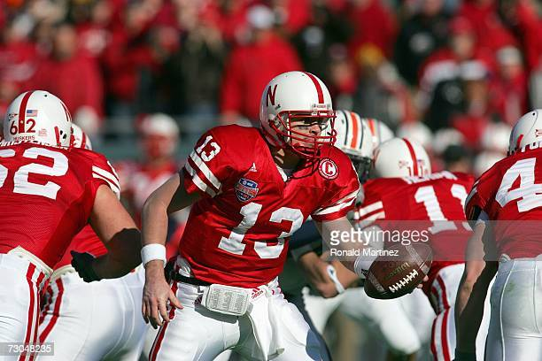 Zac Taylor of the Nebraska Cornhuskers hands off the ball during the ATT Cotton Bowl Classic against the Auburn Tigers on January 1 2007 at the...