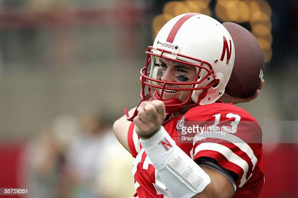 Zac Taylor of the Nebraska Cornhuskers warms up before the game with the Pittsburgh Panthers on September 17 2005 at Memorial Stadium in Lincoln...