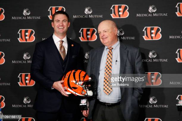 Zac Taylor poses with Cincinnati Bengals owner Mike Brown after being introduced as the new head coach for the Bengals at Paul Brown Stadium on...