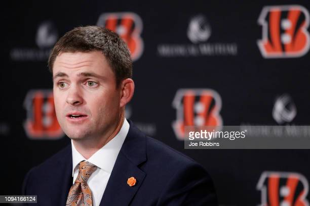 Zac Taylor speaks to the media after being introduced as the new head coach for the Cincinnati Bengals at Paul Brown Stadium on February 5 2019 in...