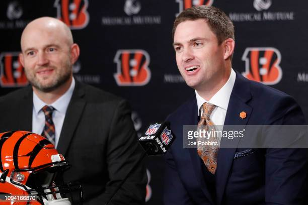 Zac Taylor speaks to the media as Cincinnati Bengals director of player personnel Duke Tobin looks on after being introduced as the new head coach...