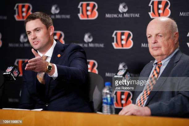 Zac Taylor speaks to the media as owner Mike Brown looks on after being introduced as the new head coach for the Cincinnati Bengals at Paul Brown...