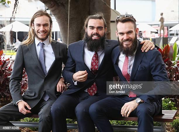 Zac Wherrett Ben Wherrett and Sam Wherrett pose at The Star Epsom Day at Royal Randwick Racecourse on October 4 2014 in Sydney Australia