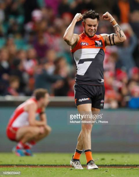 Zac Williams of the Giants celebrates as the final siren sounds during the 2018 AFL Second Elimination Final match between the Sydney Swans and the...
