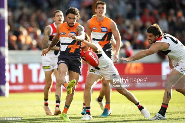 Zac Williams of the Giants kicks during the round seven AFL match between the Greater Western Sydney Giants and the St Kilda Saints at Manuka Oval on...
